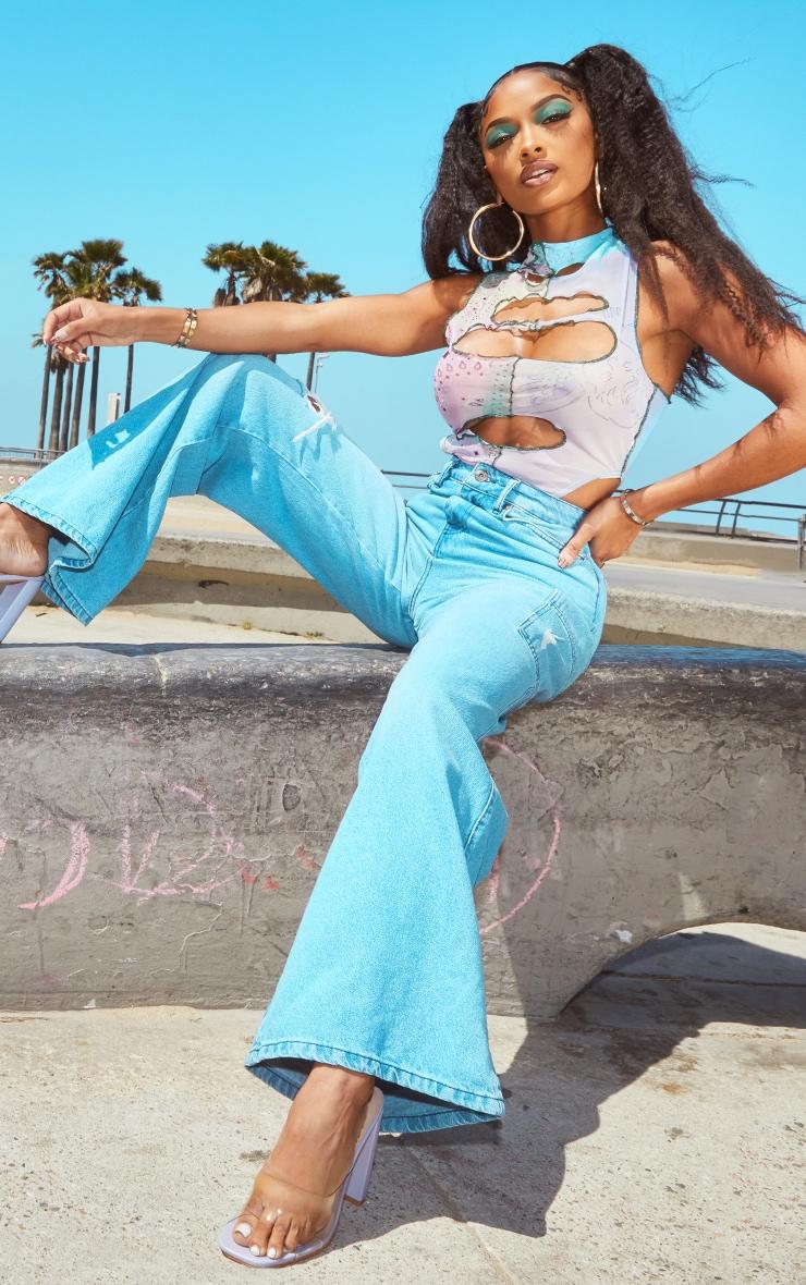 Shape Lilac Mix Print Sheer Mesh Cut Out Sleeveless Bodysuit 3