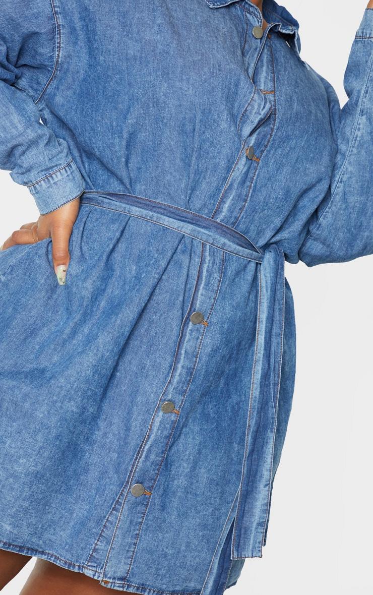 Plus Mid Blue Wash Belt Detail Denim Dress 6