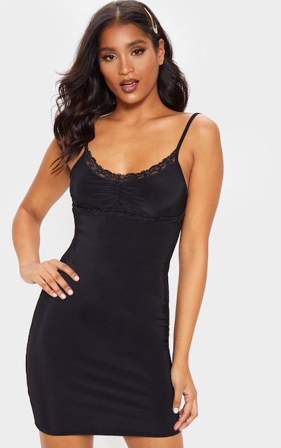 d2802a530f Black Strappy Lace Detail Bodycon Dress