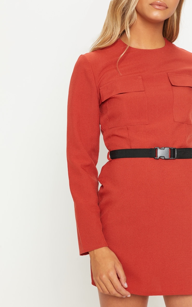 Rust Utility Belted Shift Dress 5