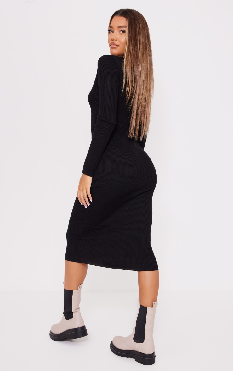 Black Button Down Collared Knitted Midi Dress 2
