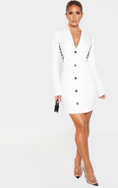 White Lace Up Detail Blazer Dress