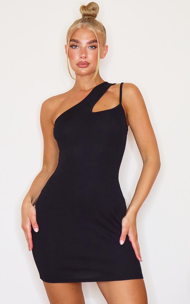 Black Asymmetric Strap Detail Dress 1
