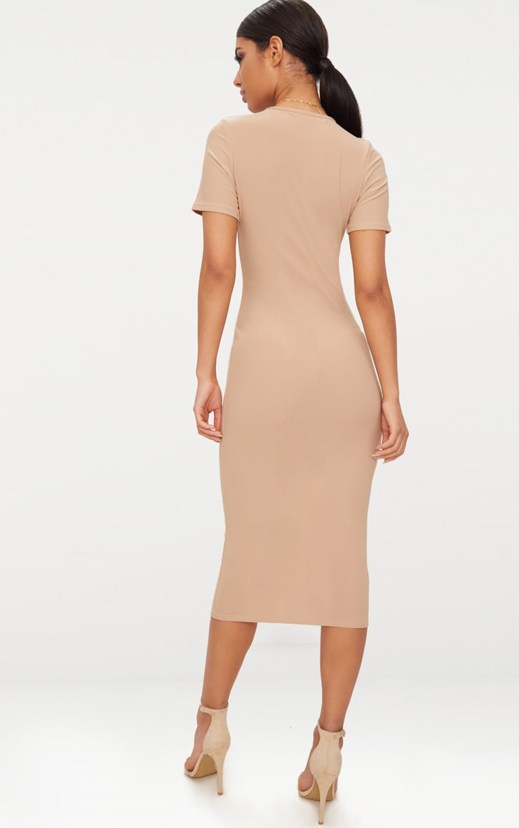 Basic Taupe Cap Sleeve Midi Dress  2
