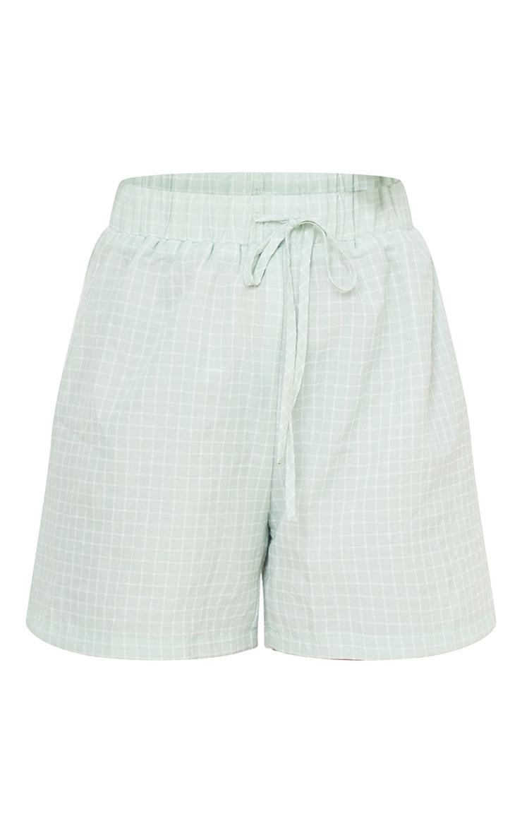 Petite Sage Green Checked Longline Shorts 6