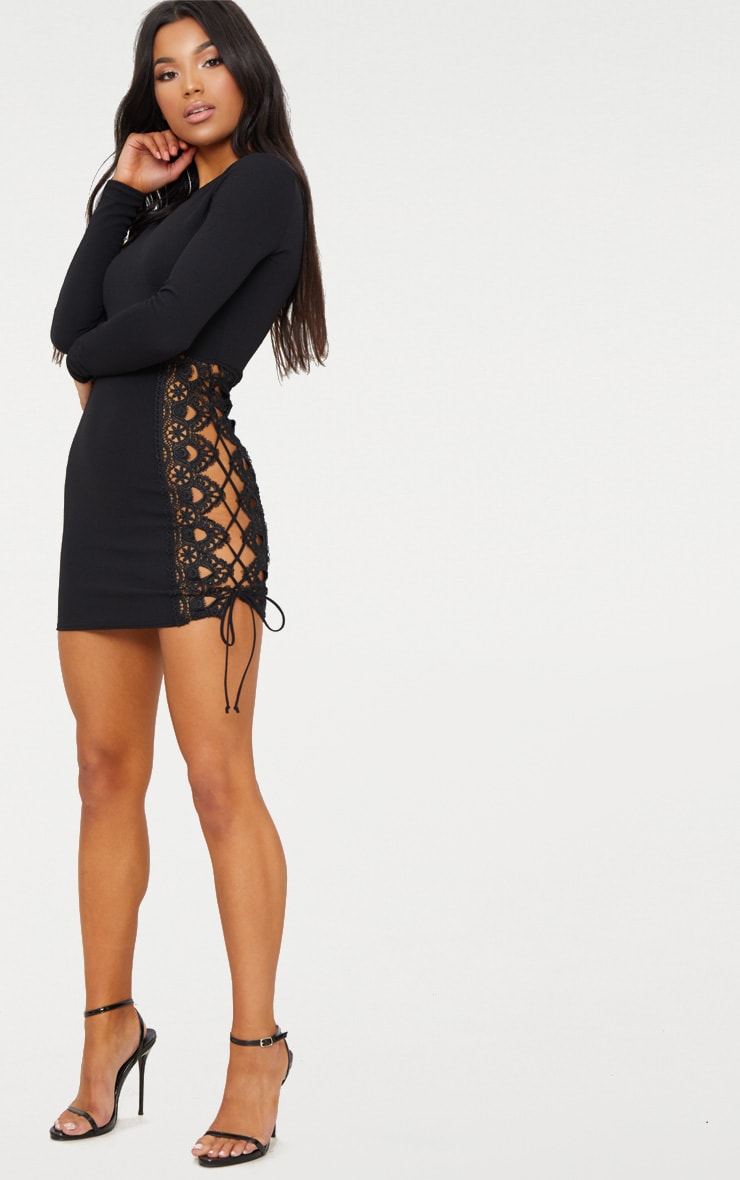 Black Lace Up Side Long Sleeve Bodycon Dress 4