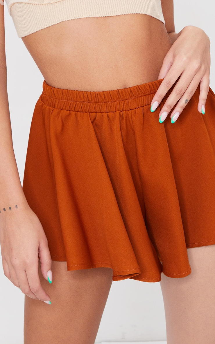 Rust High Waisted Floaty Shorts 5