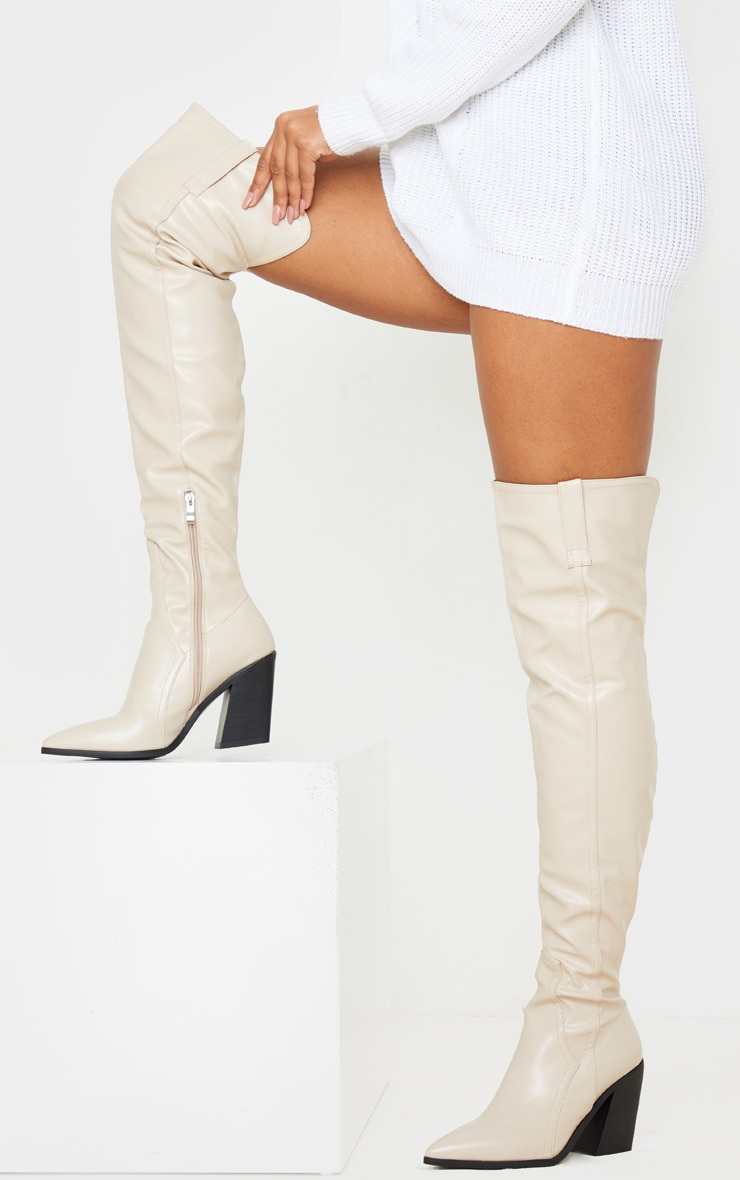 Nude Block Heel Thigh High Western Boot 2