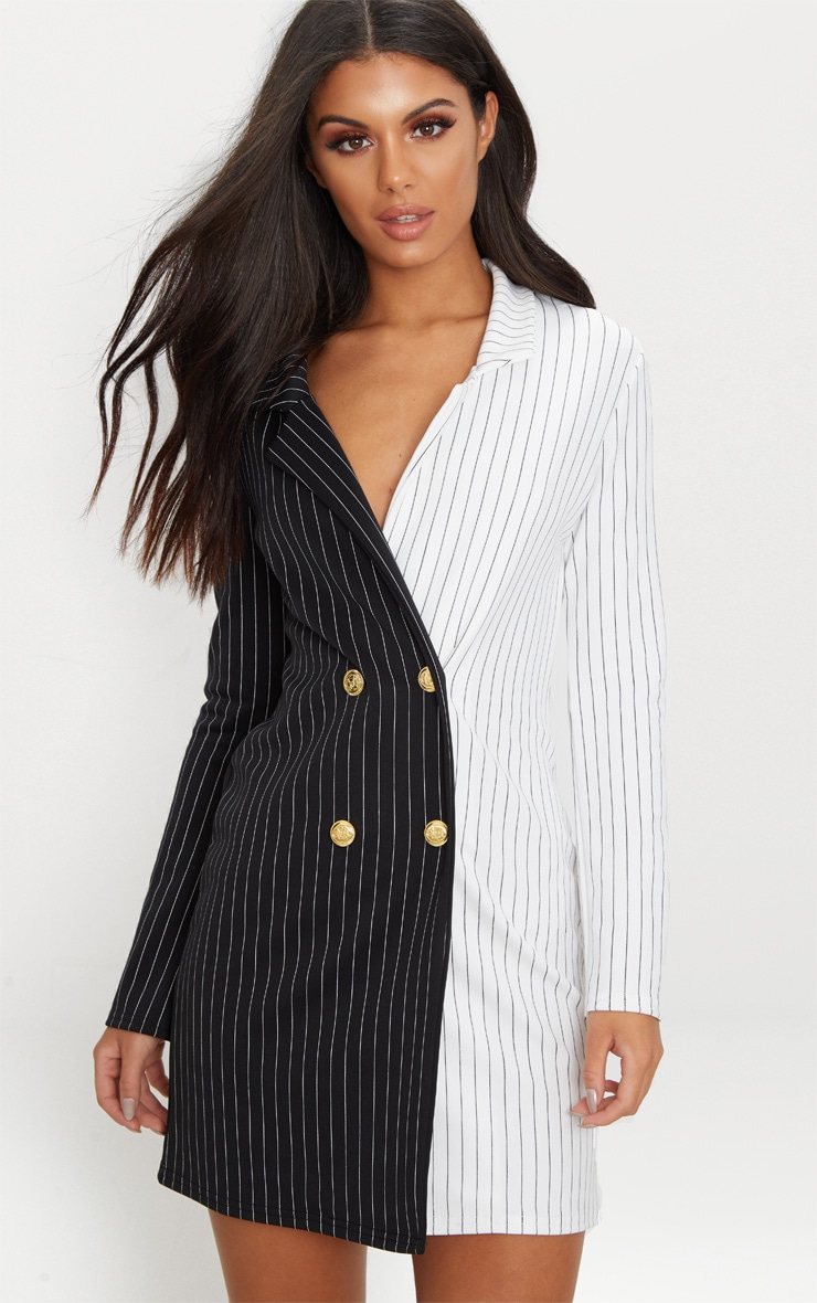 Black Stripe Contrast Detail Blazer Dress 1