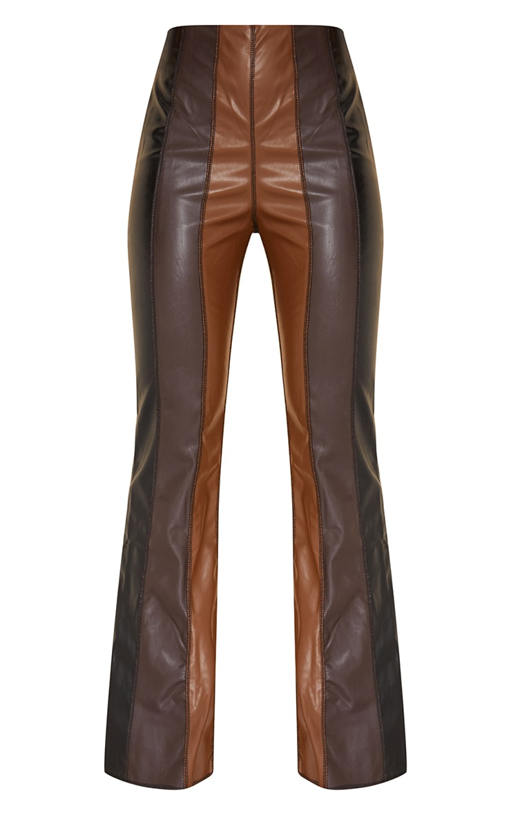 Chocolate Brown Faux Leather Panelled Skinny Flared Trousers 5