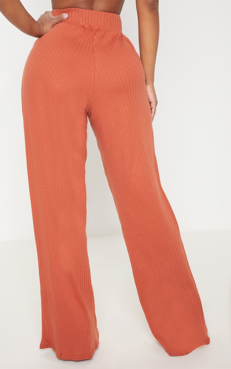 Shape Rust Ribbed Wide Leg Trousers 4