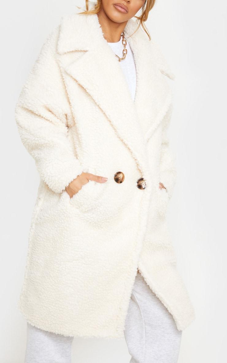 Petite Cream Borg Oversized Coat 5