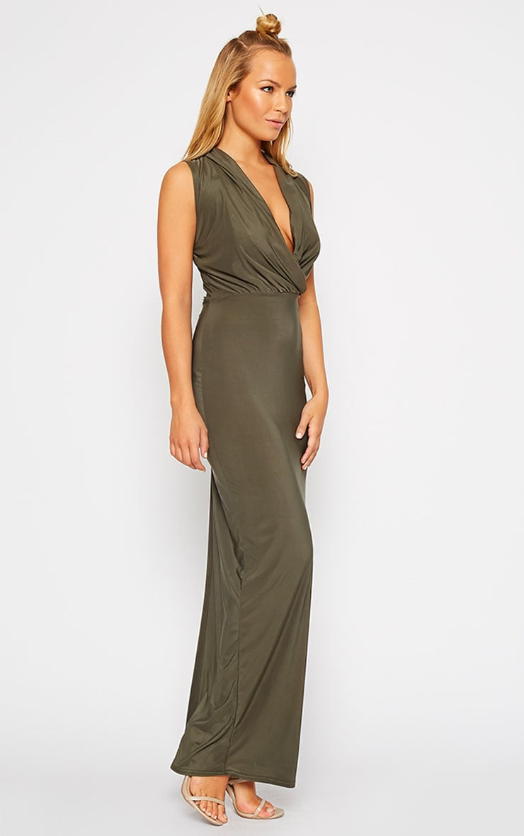 Rabia Khaki Ruched Cowl Maxi Dress 4