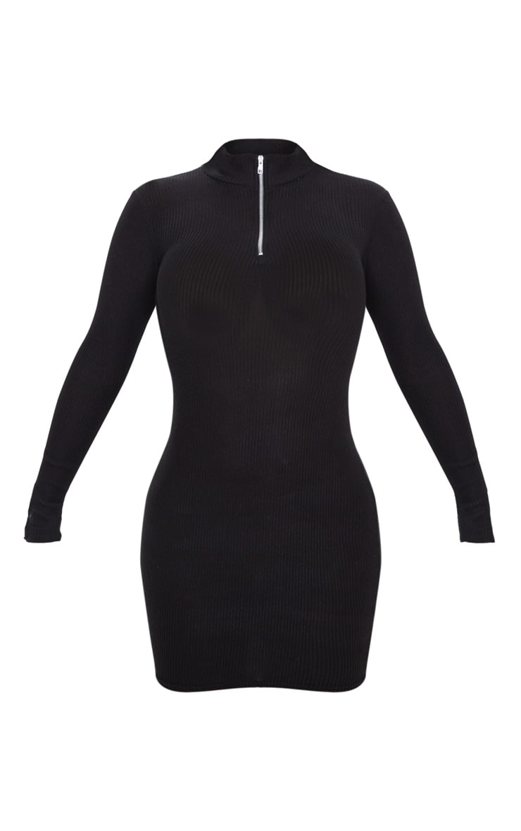 Black Brushed Rib Long Sleeve Zip Front Bodycon Dress 3