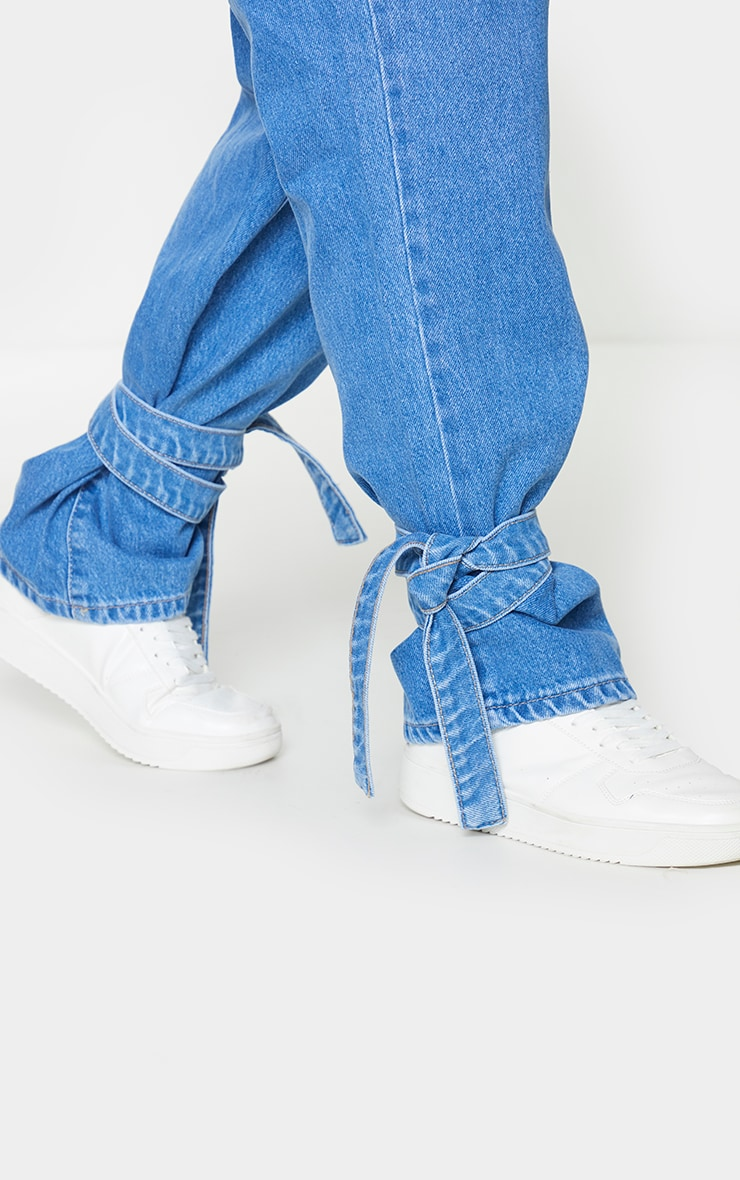 Plus Mid Blue Wash Tie Hem Jeans 4