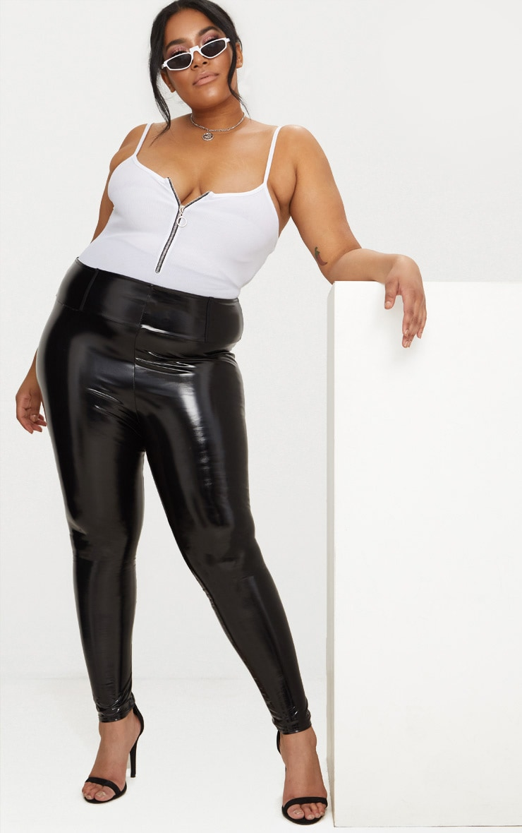 Plus Black High Waist Vinyl Leggings 1