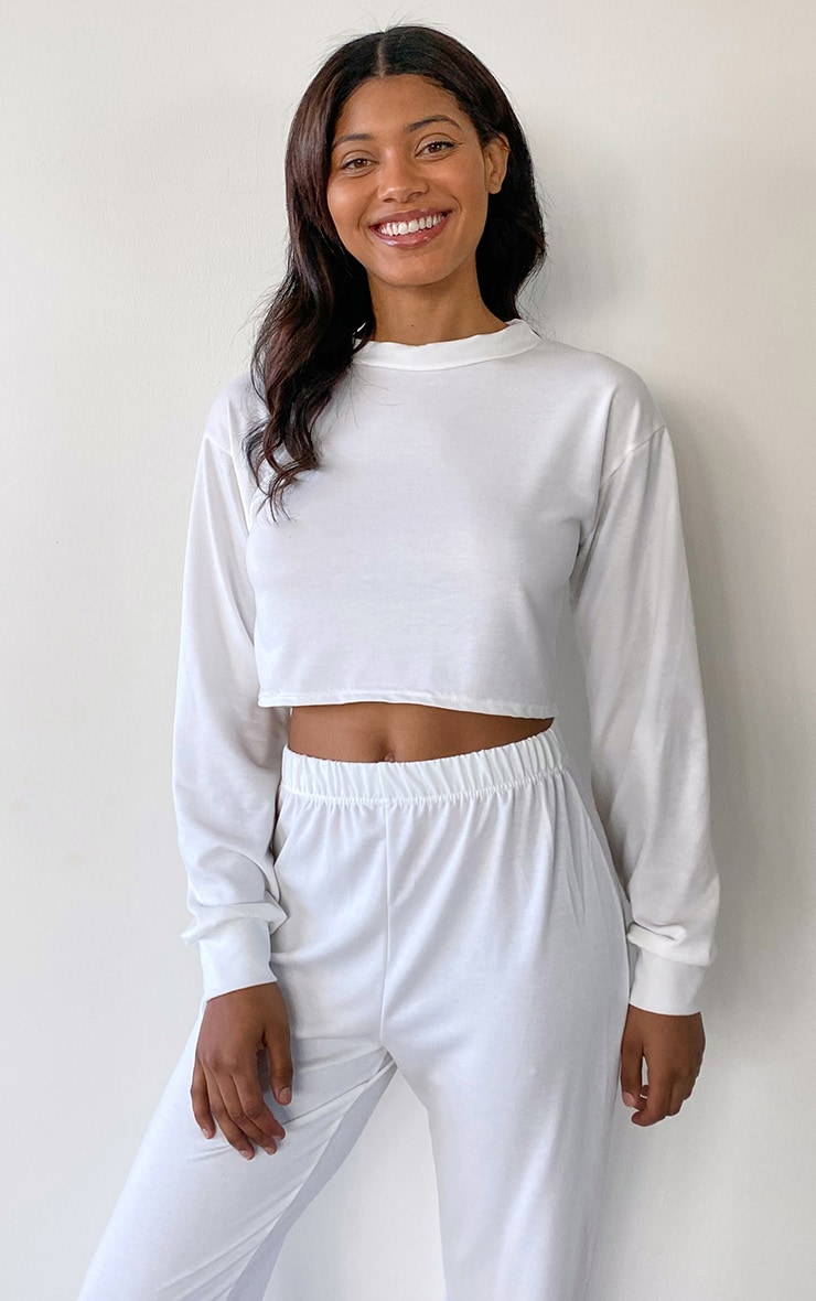 Tall White Brushed Oversized Sweater 1