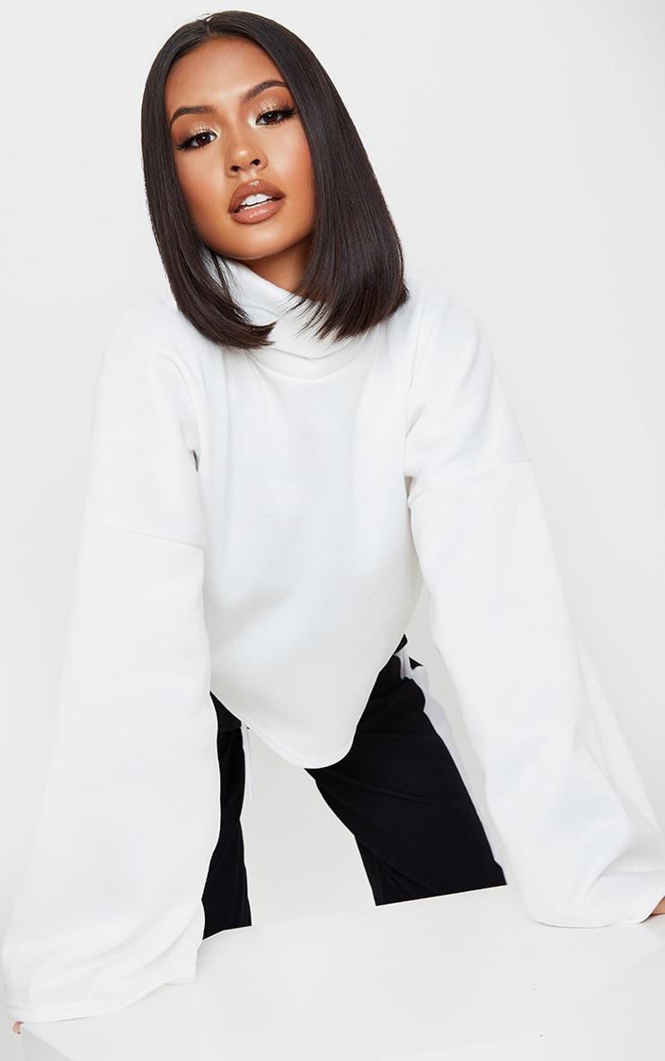 Cream Fleece Roll Neck Sweater 1