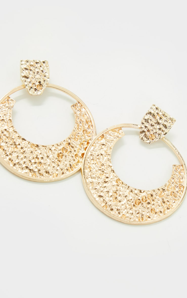 Gold Textured Statement Earrings 3