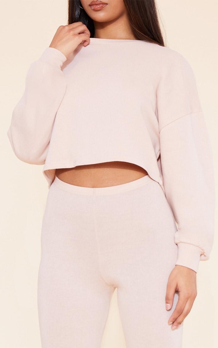 RECYCLED Deep Nude Crop Sweater 6