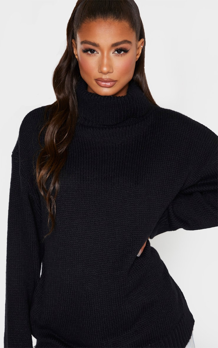 Black High Neck Fluffy Knit Sweater 5