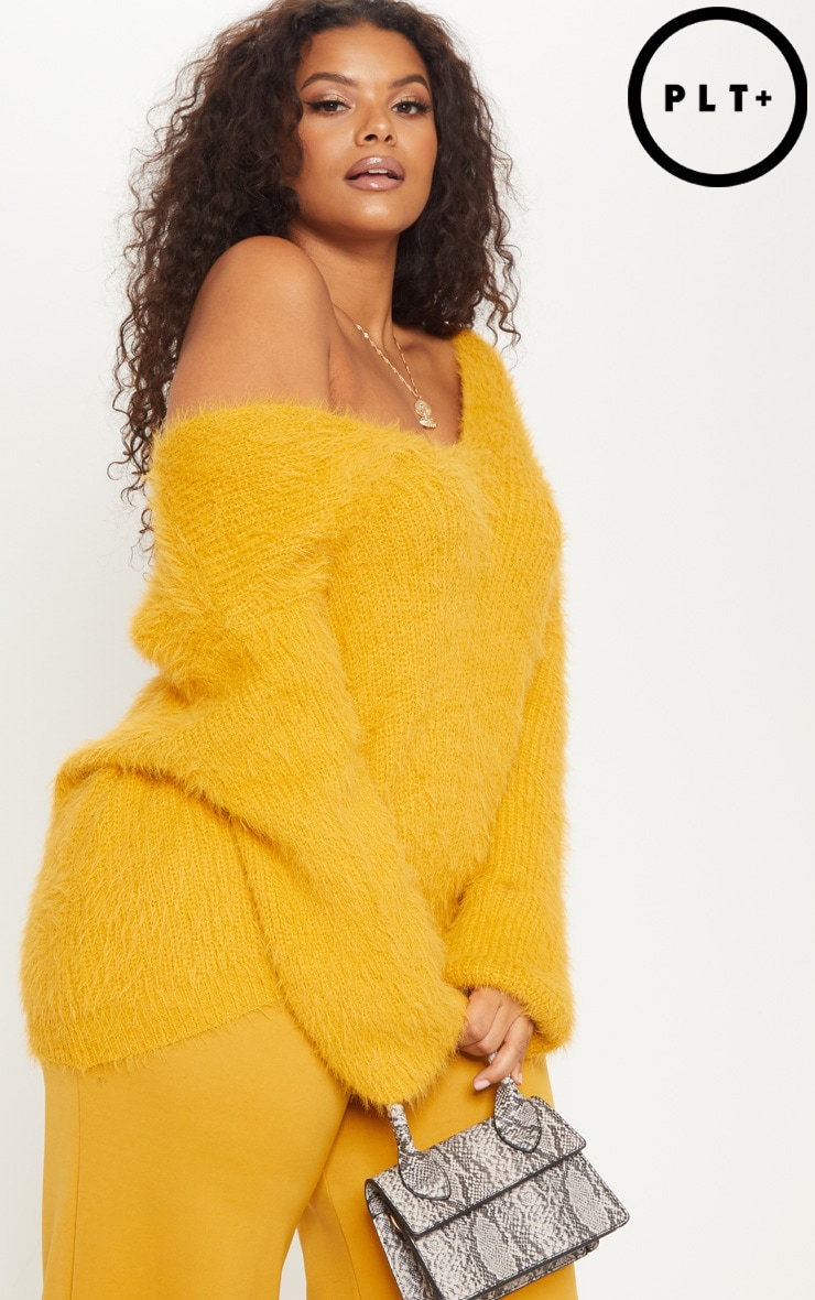 Plus Mustard Eyelash Knitted Jumper