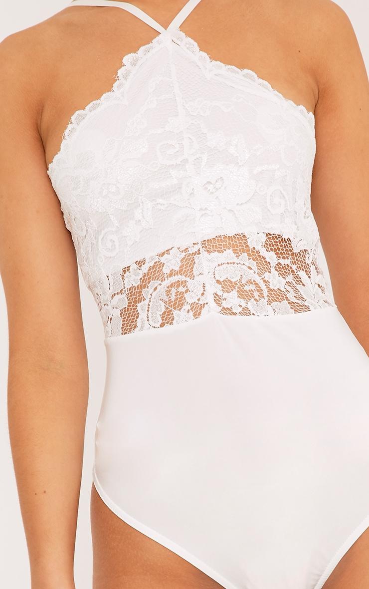 Cream Scallop Lace Thong Bodysuit 6