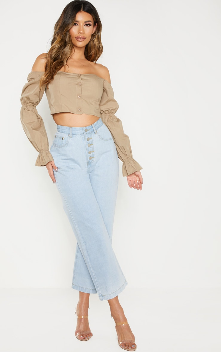 Taupe Button Front Bardot Puff Long Sleeve Crop Top 3
