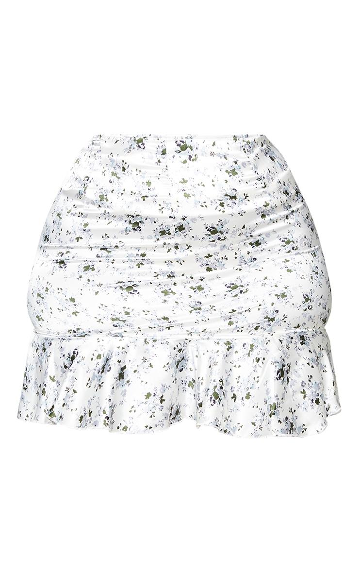 Plus White Floral Print Satin Frill Hem Mini Skirt 6