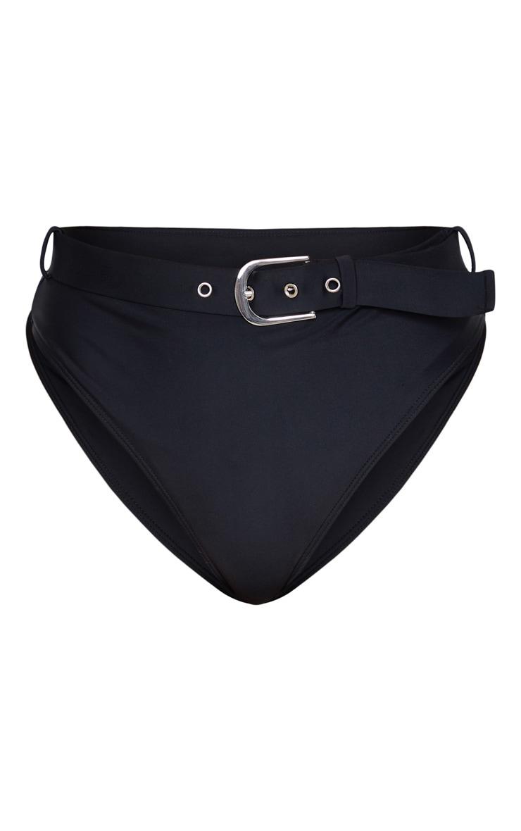 Bas de bikini taille haute ceinturée noir  3