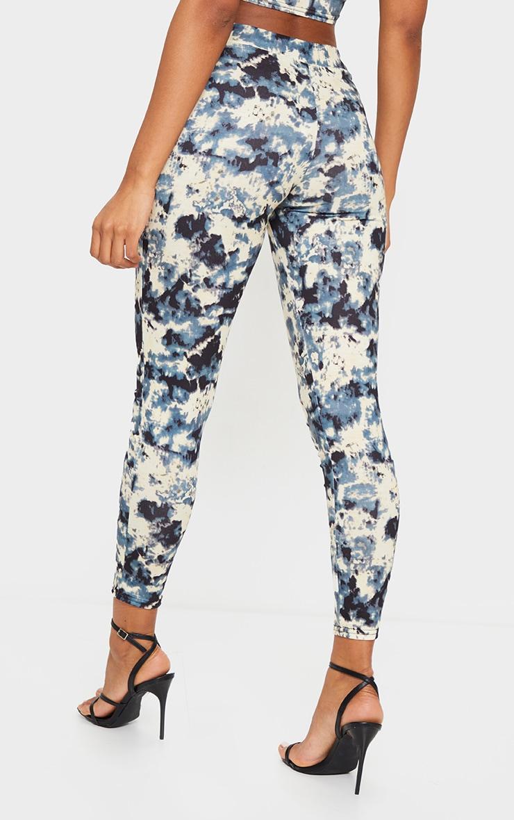 Pantalon taille haute gris imprimé tie & dye 3