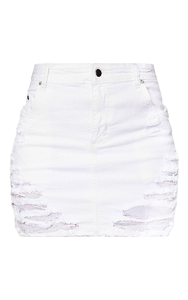 White Super Shred Denim Mini Skirt 3