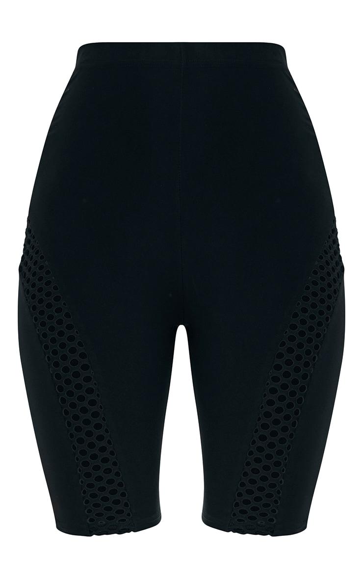 Black Fishnet Panel Slinky Cycle Shorts 3