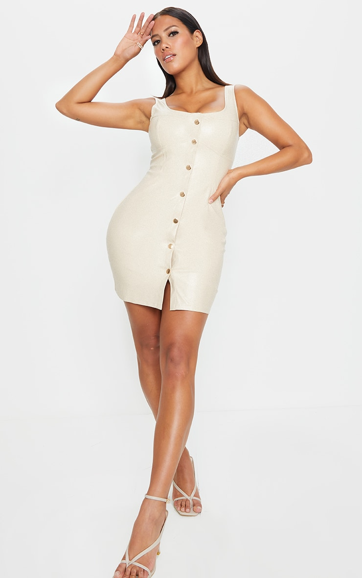 Shape Stone PU Cup Detail Popper Bodycon Dress 3