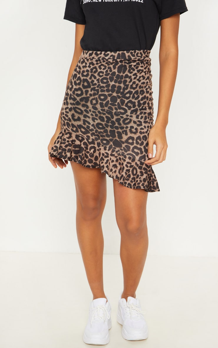 True Leopard Printed Ruched Detail Mini Skirt 2