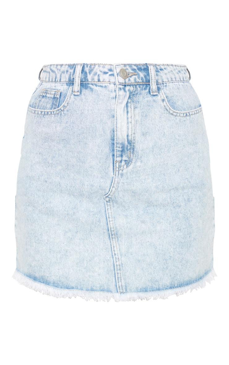 Bleach Wash Denim Mini Skirt 3