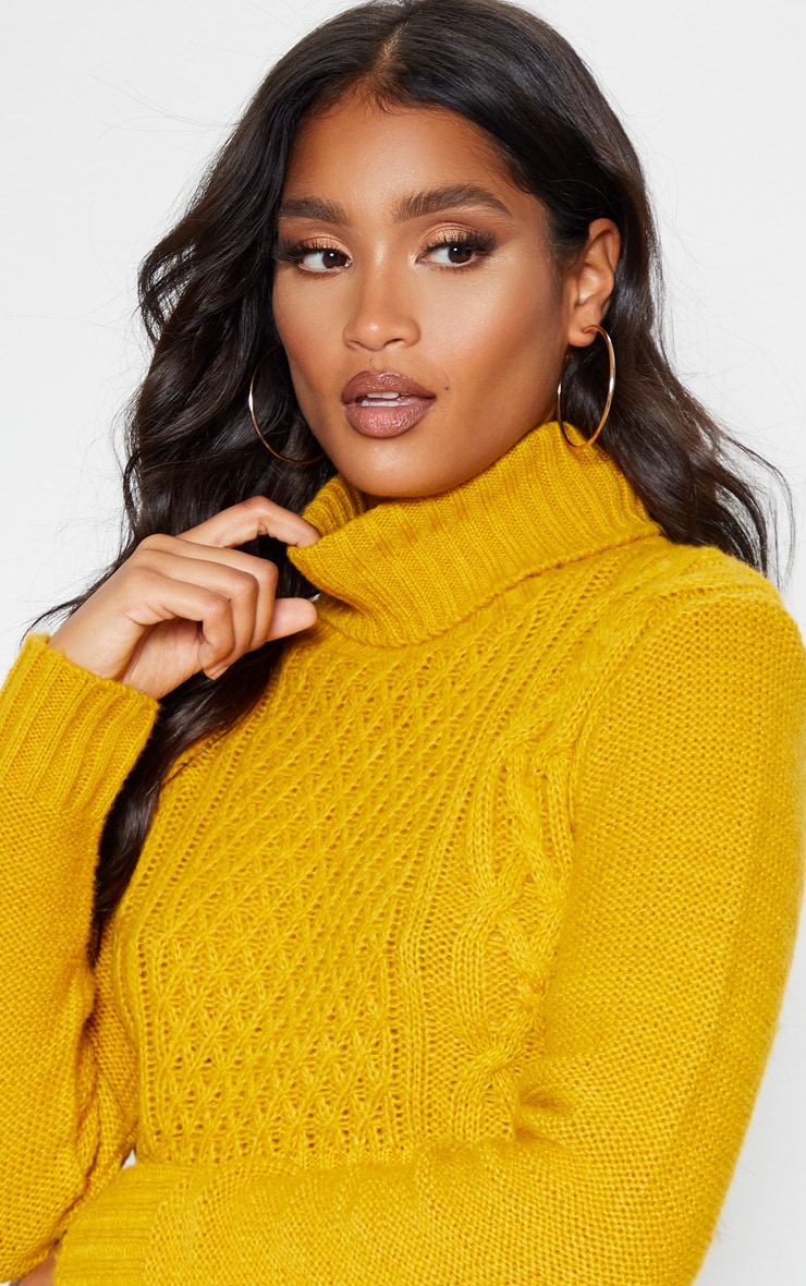 Mustard Roll Neck Fluffy Crop Cable Knit Jumper 5