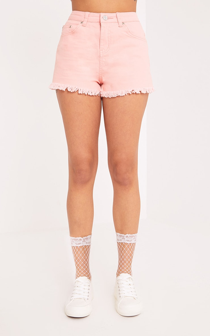 Jaydanne Pink Fray Edge Denim Short 2