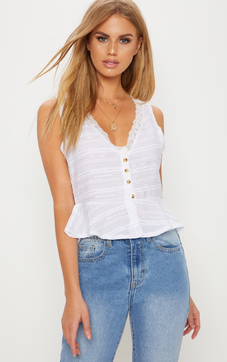 White Sleeveless Contrast Button Blouse 1