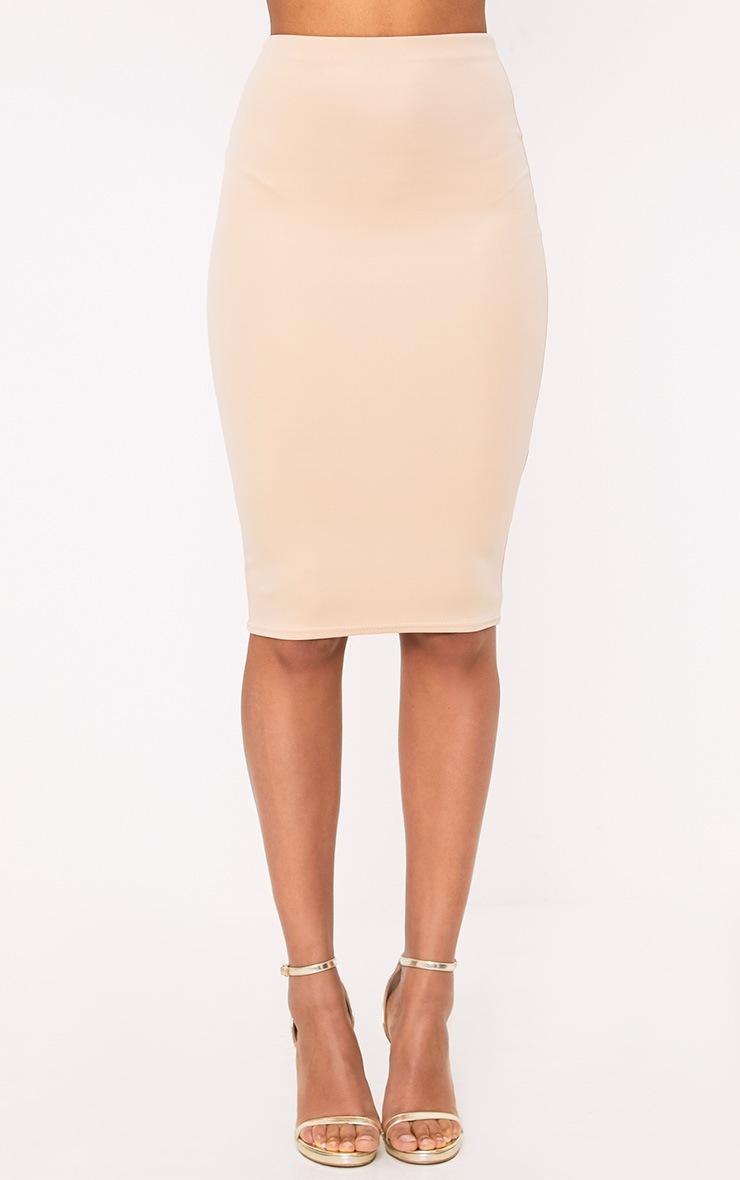 Winnie Beige Scuba Midi Skirt 2