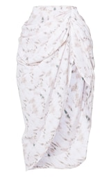 Light Pink Tie Dye Ruched Side Midi Skirt 3