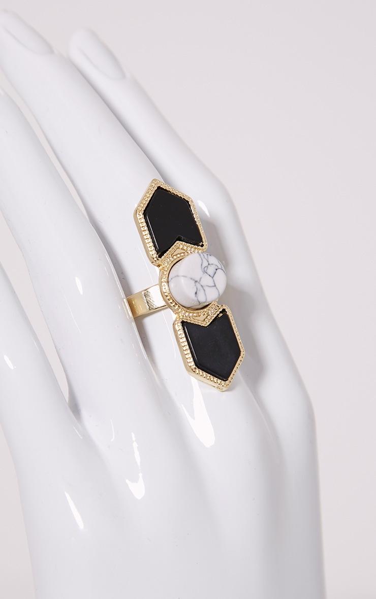 Lu Gold Statement Stone Ring 2