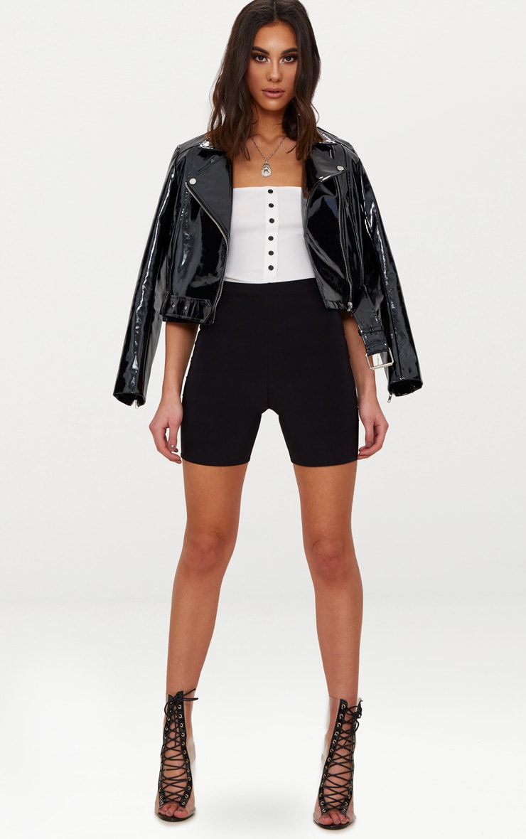 Black High Shine Vinyl Biker Jacket 1