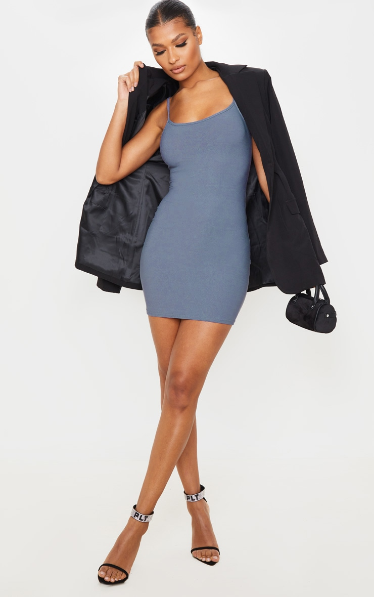 Grey Strappy Straight Neck Bodycon Dress 3