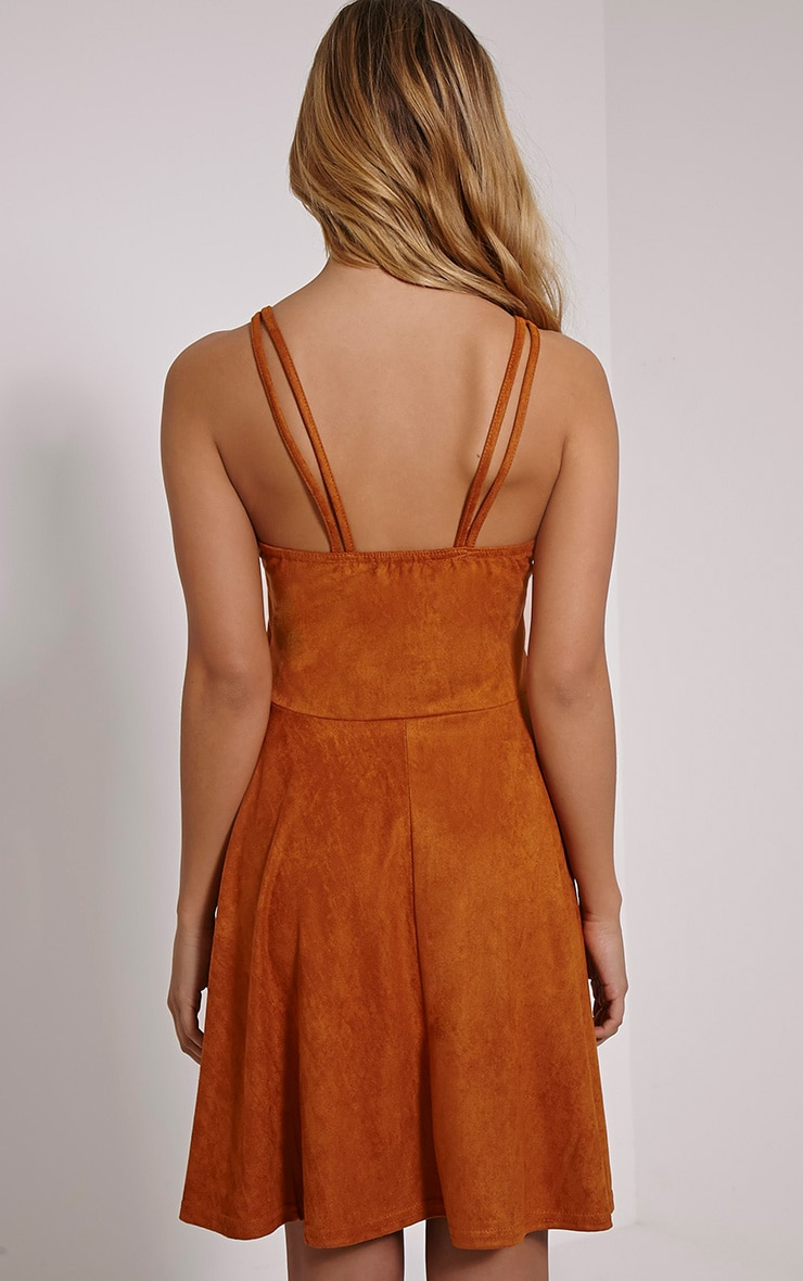 Issa Tan Eyelet Faux Suede Skater Dress 2