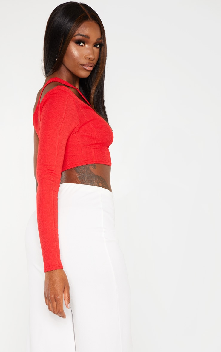 Red One Shoulder Cut Out Bandage Crop Top 2