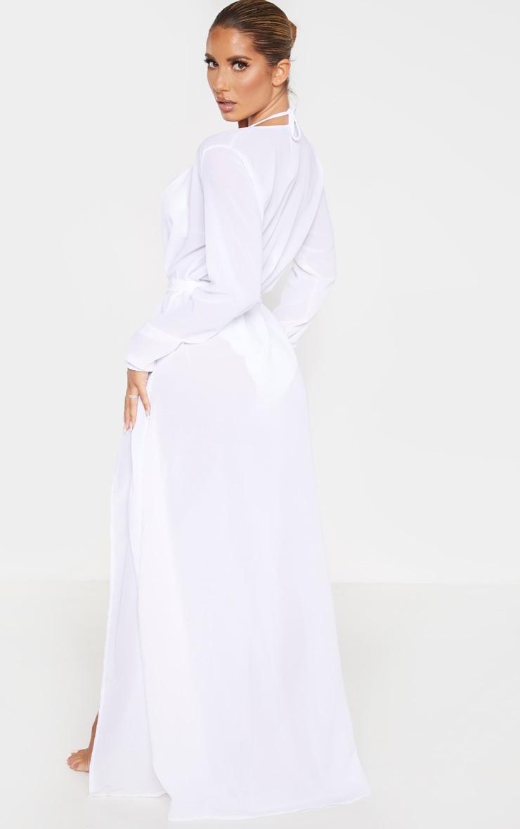 White Alice Maxi Belted Beach Kimono 2