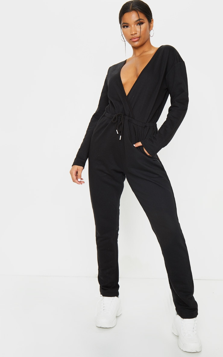 Black Wrap Over Long Sleeve Sweat Jumpsuit 1