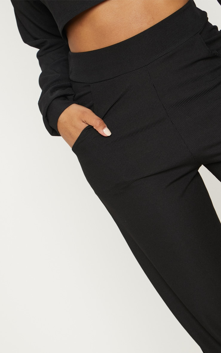 Shape Black Ribbed Cuff Detail Joggers 5