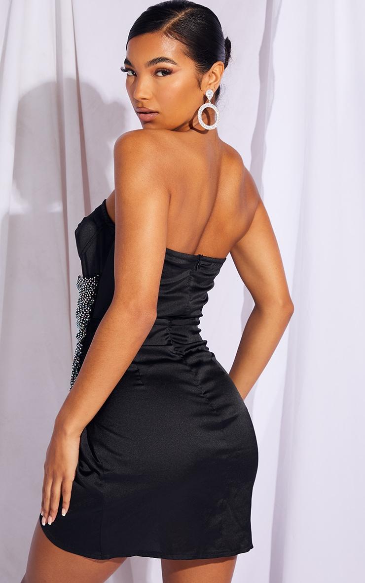 Black Diamante Bandeau Drape Bodycon Dress 2
